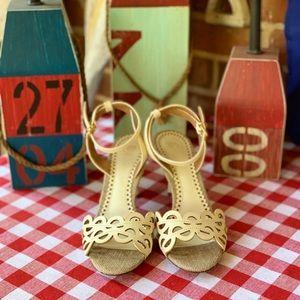 Tory Burch Laser-Cut Heeled Sandals, 8.5